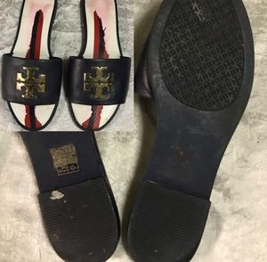 Tory Burch beach pool slides LARGE LOGO LUX size 6